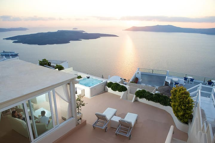 Amazing sunset view from the upstairs terrace looking also at most of the island.One of the largest private tarraces