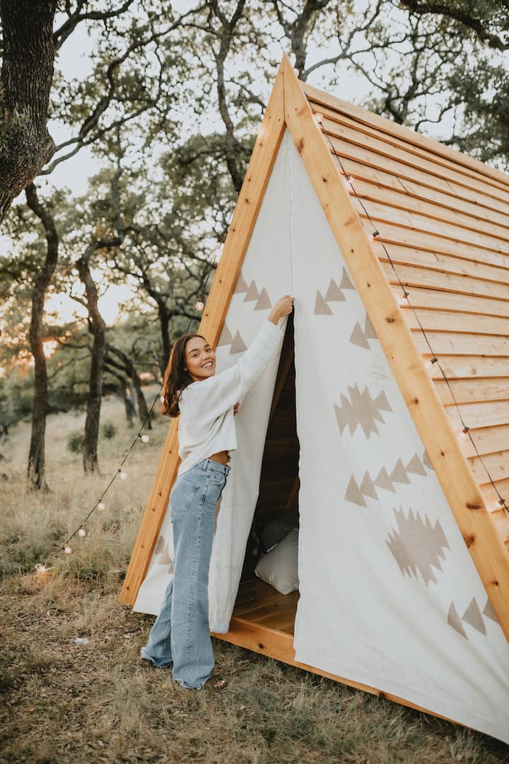 Glamping - Petite Aztec wooden tent at Talula Mesa