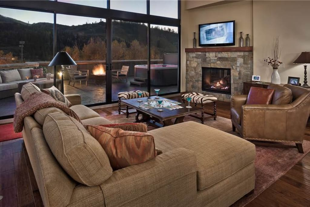Spacious Living Room with Fire Place