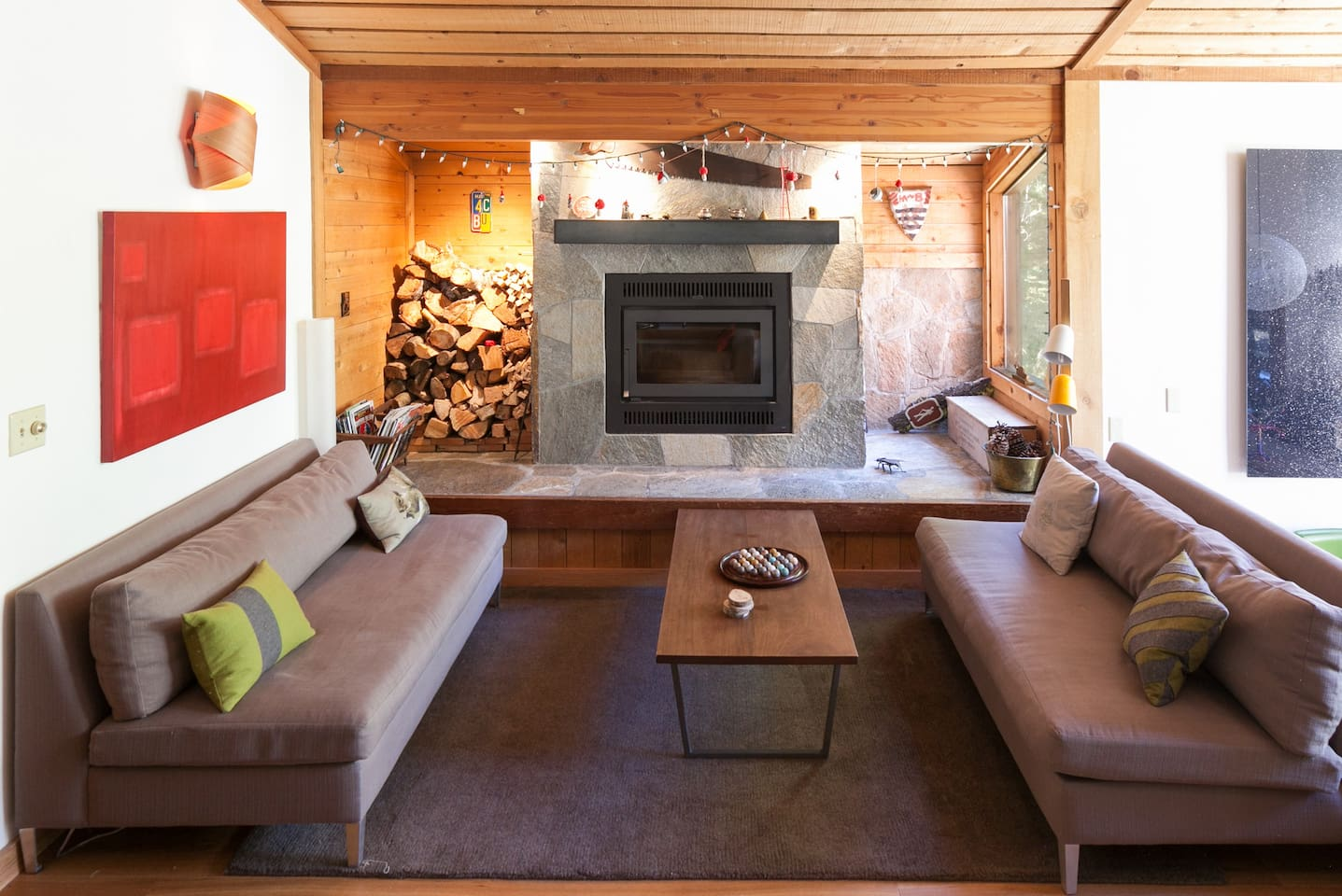 Cozy up and enjoy the wood burning fireplace.