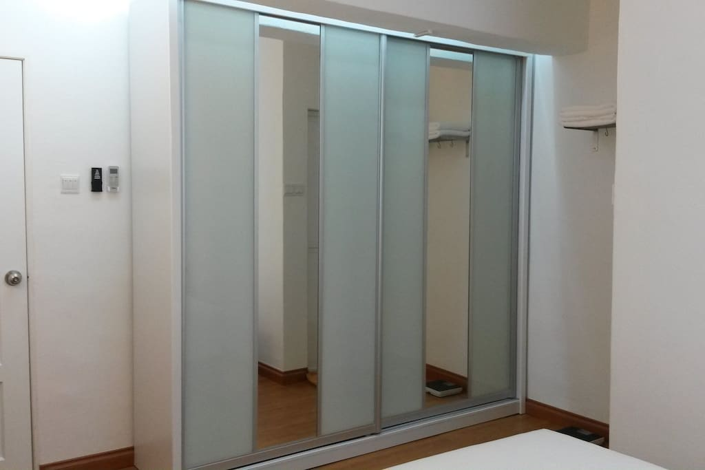 Large wardrobe with mirror, big enough to put your belonging.