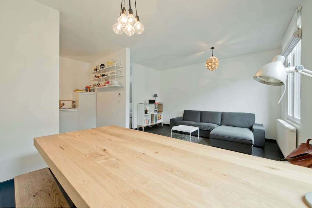 Beautiful wooden dining table that comfortably seats up to 6 people.