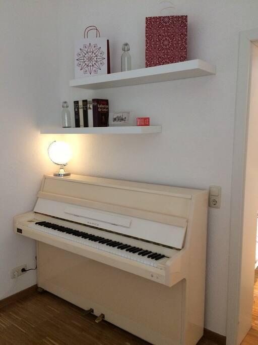 Klavier, Globus, Bücher...