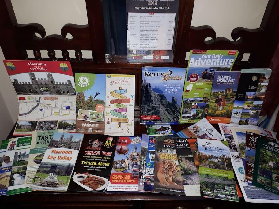 Information leaflets in living room.
