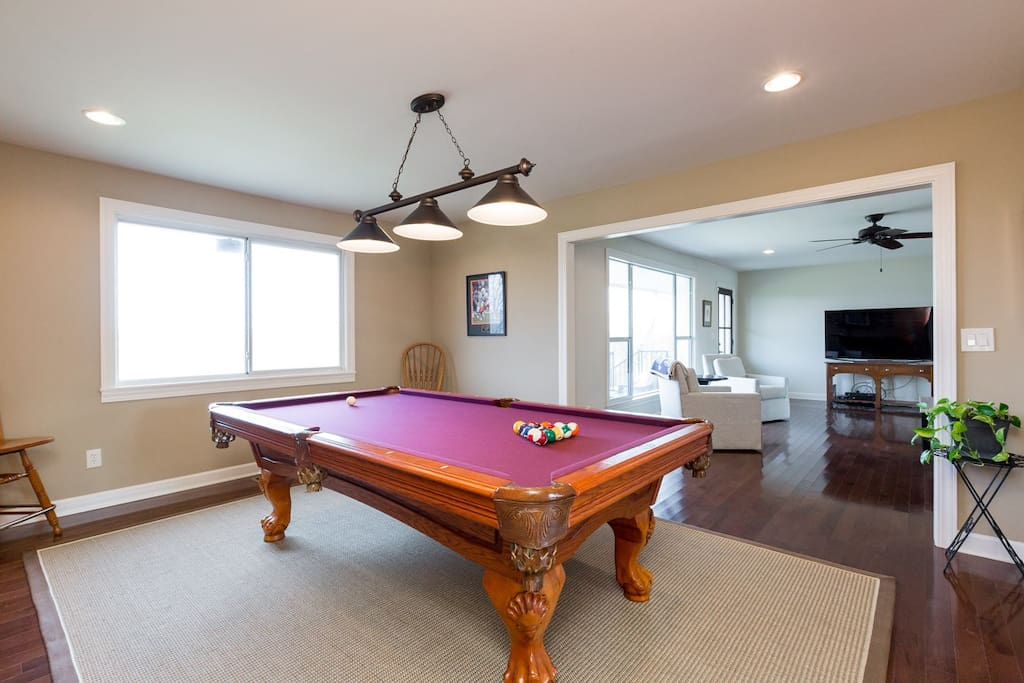 Full-size billiards table just off the the living room