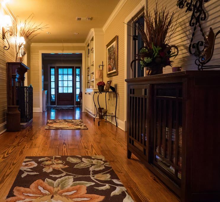 Enjoy the shotgun hallway from 1920's with pine flooring and bead board walls.