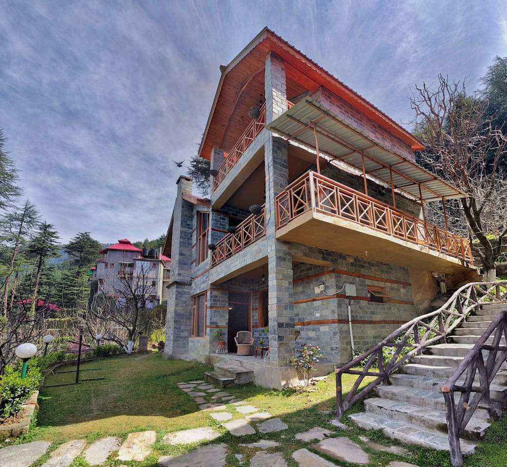 Exterior of the complete villa comprising Two bed room cottage on upper story and one bed room Cottage on ground floor