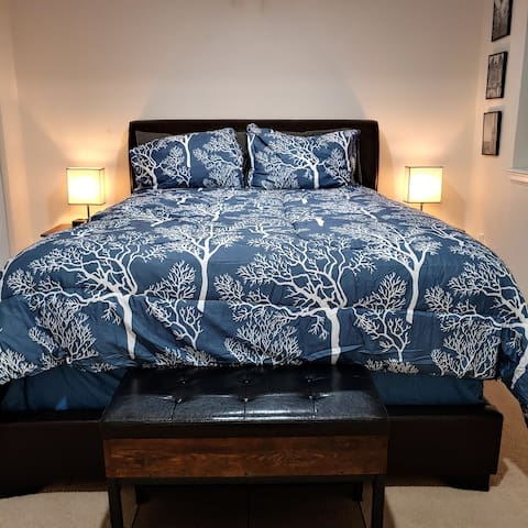 Pillow top queen mattress awaits you. Lamps have USB and 129v outlets for your convenience.
