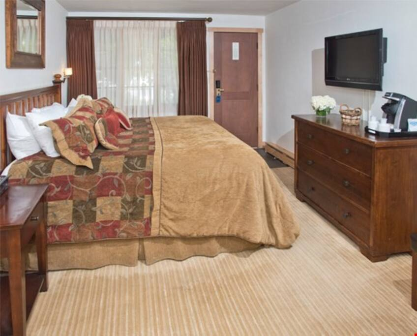 Get a good night's sleep in the plush bed.