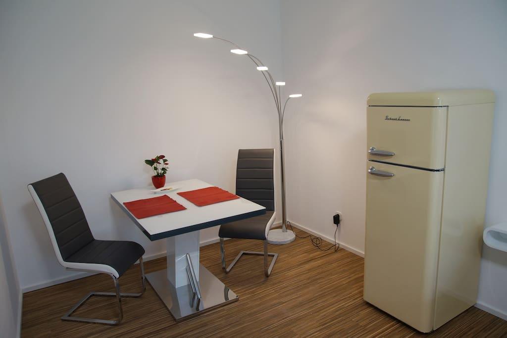 Seating area / retro style fridge