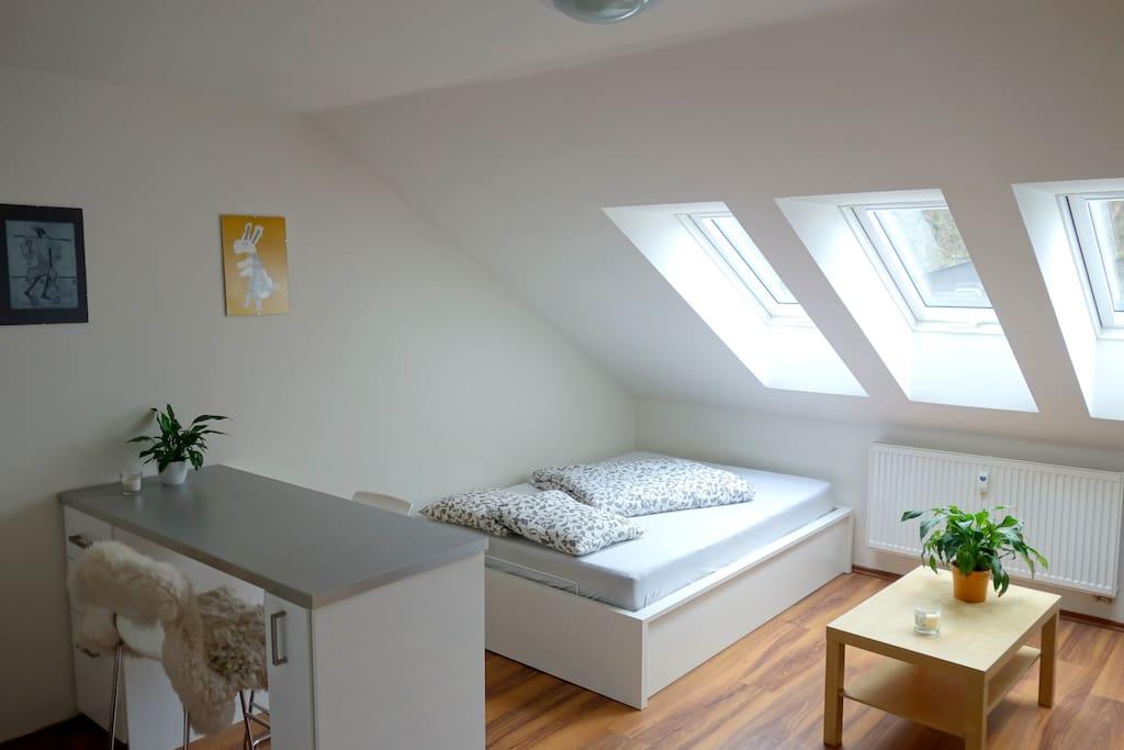 Modern attic studio