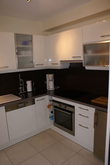 Fully equipped kitchen, with separate wine cabinet.