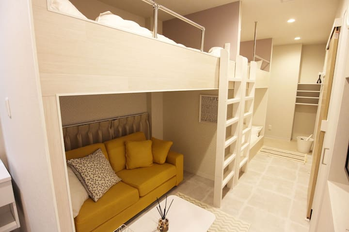 NEW! 4 mins OSAKA! 3 DOUBLE BEDS ! FREE WI-FI ~桜~