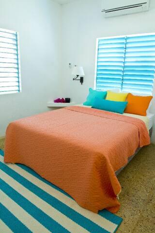 Bedroom, double beds in both bedrooms