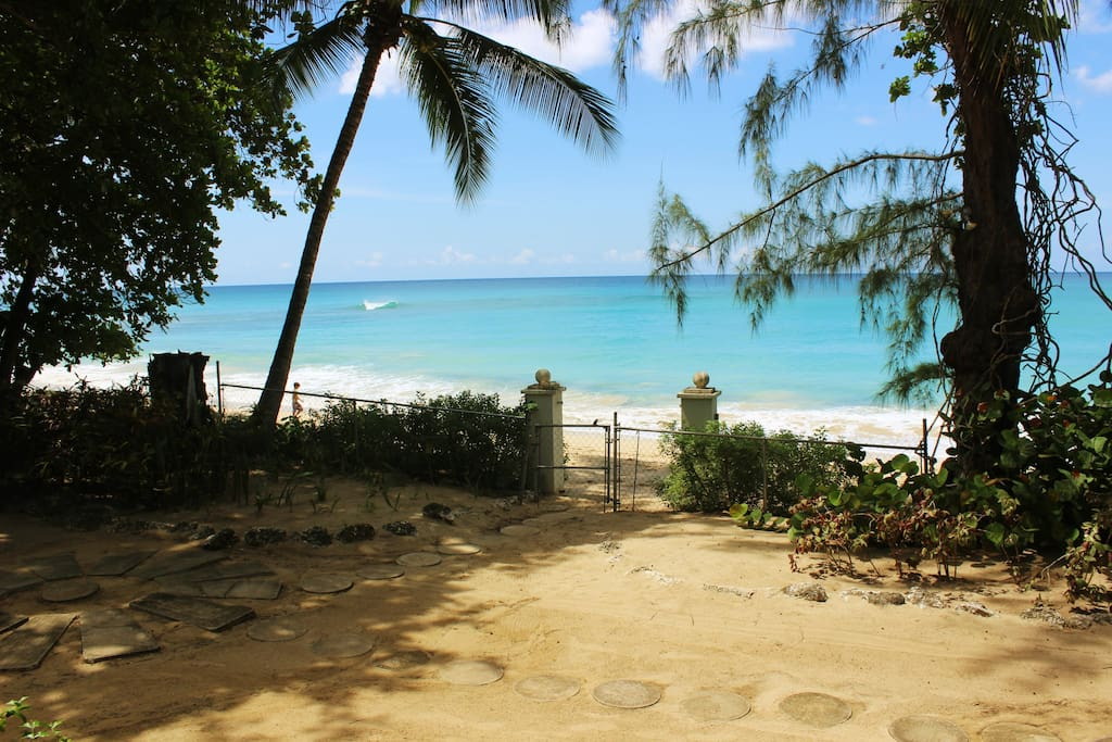 Turtle's Nest has its own private entrance to the gorgeous Mullins Bay