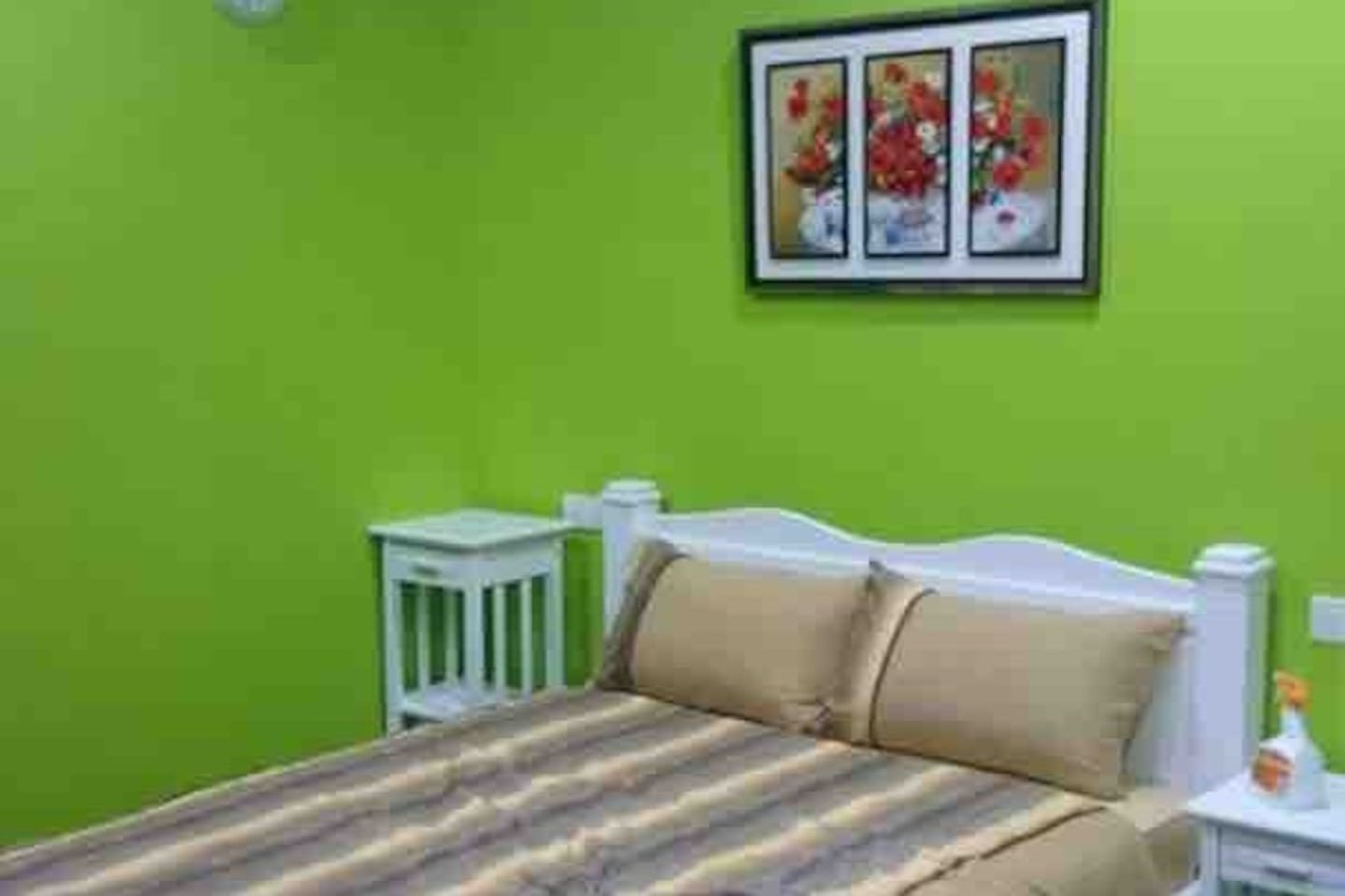Room C1: Queen beds with individual bath room, tv set (Enjoi), coffee table with two chair, ironing set, hangers. This room can accommodate max. 4 guests (with extra 2 pillows and floor mattress- provided). This room equipped with a split aircon.