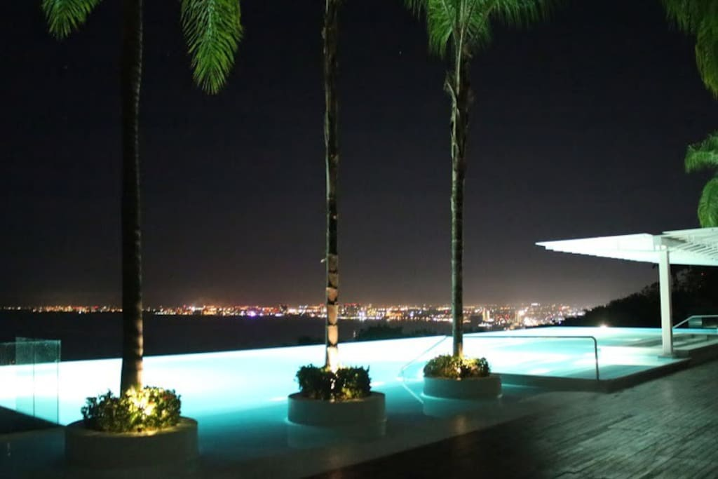 View from pool at night