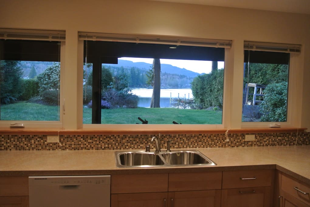 Newly remodeled kitchen with lake view