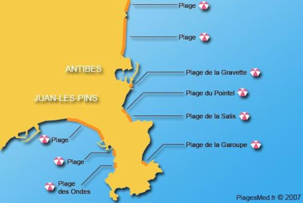 Carte des plages d'Antibes
