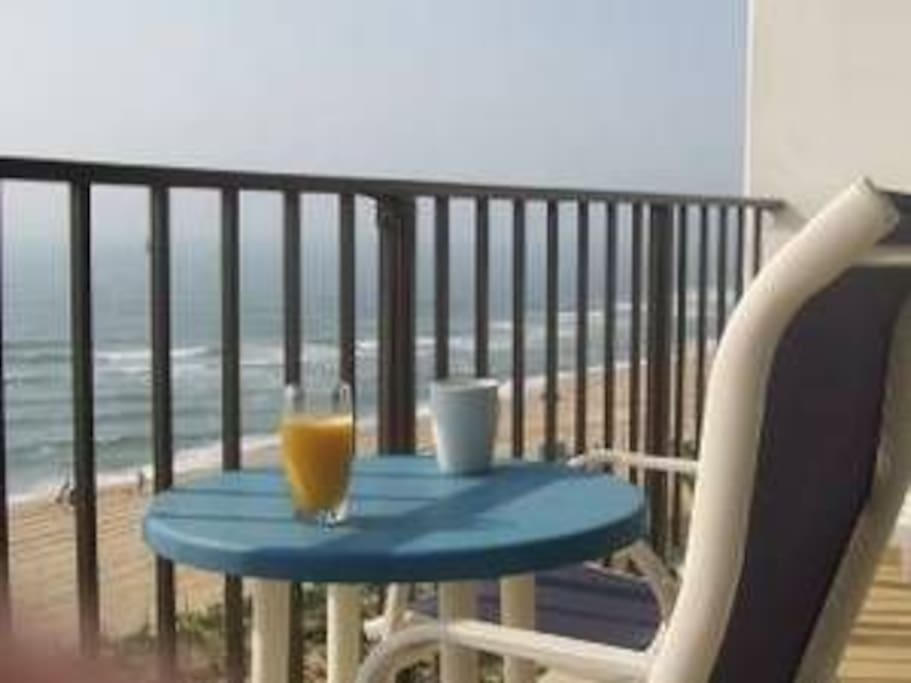 Relax on our 18 foot wide balcony and enjoy your favorite beverage while over looking the beach and Atlantic Ocean!
