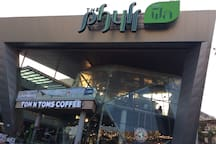 The Phyll shopping mall is opposite the condo, Tom n Tom coffe shop, Japanese restaurant, Sunrise Tacos, Subway, 7-11