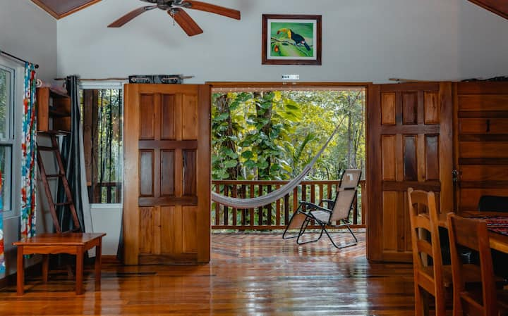 Jungle view cabin#1-car rental, king bed, AC, Wifi