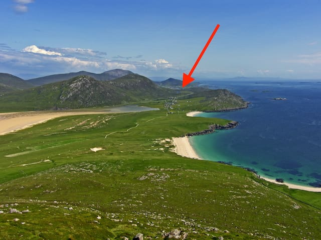 Kilda House-is at South harris the most sought after destination of Harris, overlooking a tidal Sea Loch and just a 2 min drive from Northton's many beaches with turquoise seas, please enquire direct with us.