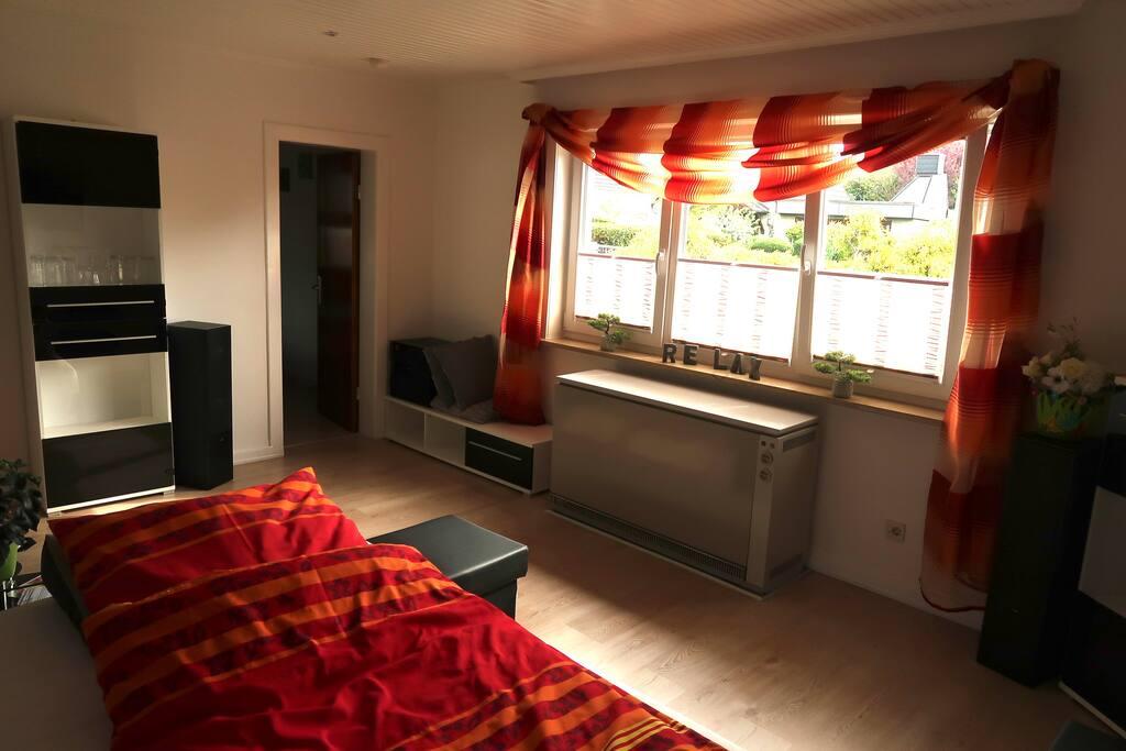 Das Wohnzimmer (Übergangs Zimmer zum Schlafzimmer) mit ausziehbarem  Boxspringsof (160x200cm)
