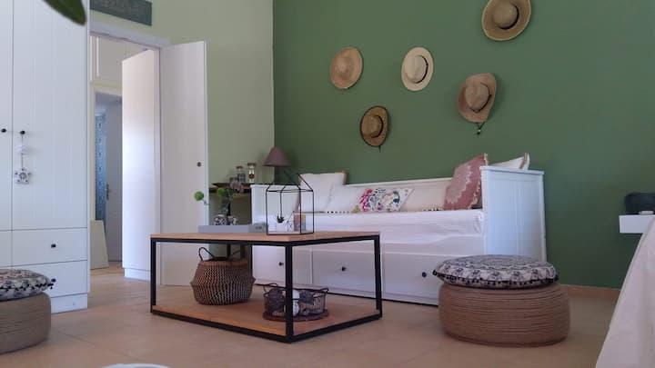 Modern bungalow in olive garden