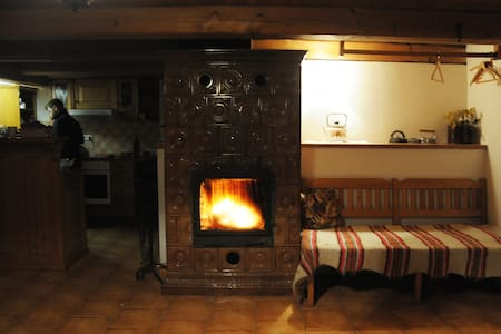Classic wooden cabin with fireplace - Bartošovice v Orlických horách - Cottage
