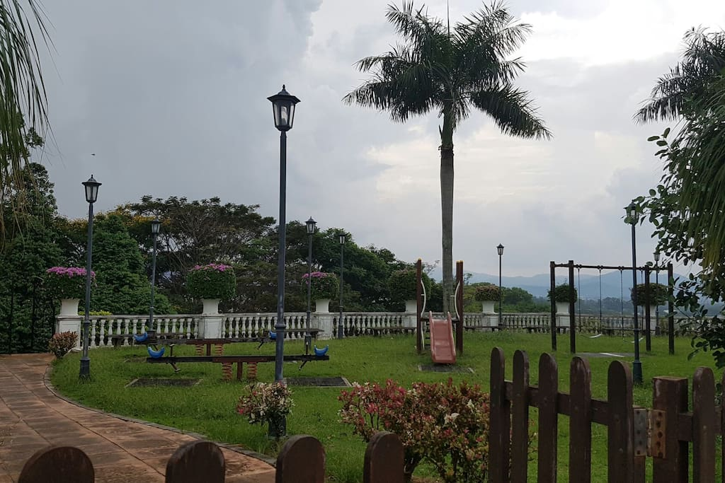 The playground just next to the block