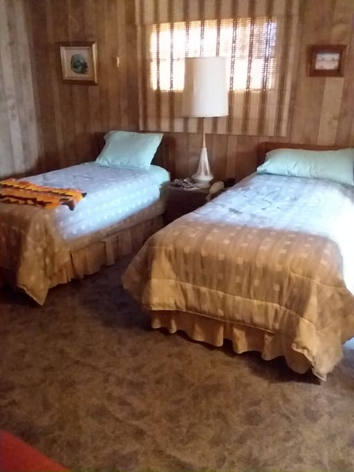 Two twin-sized beds with connected bathroom amenities