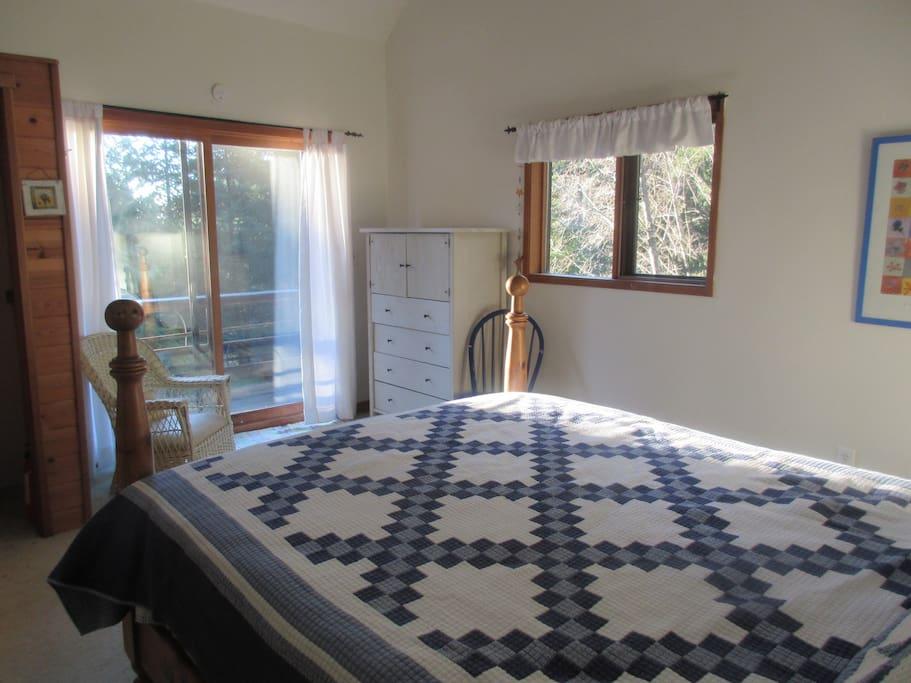 Master bedroom with deck
