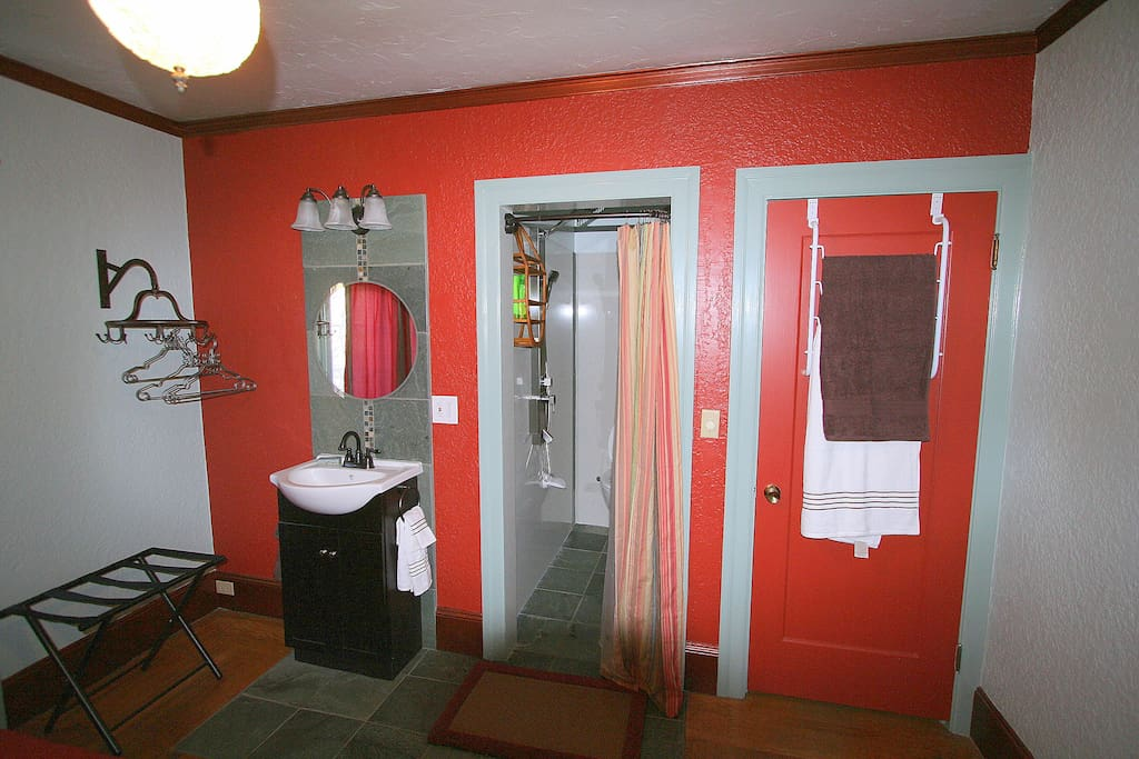 European bathroom with luxurious rainfall shower head in your room.