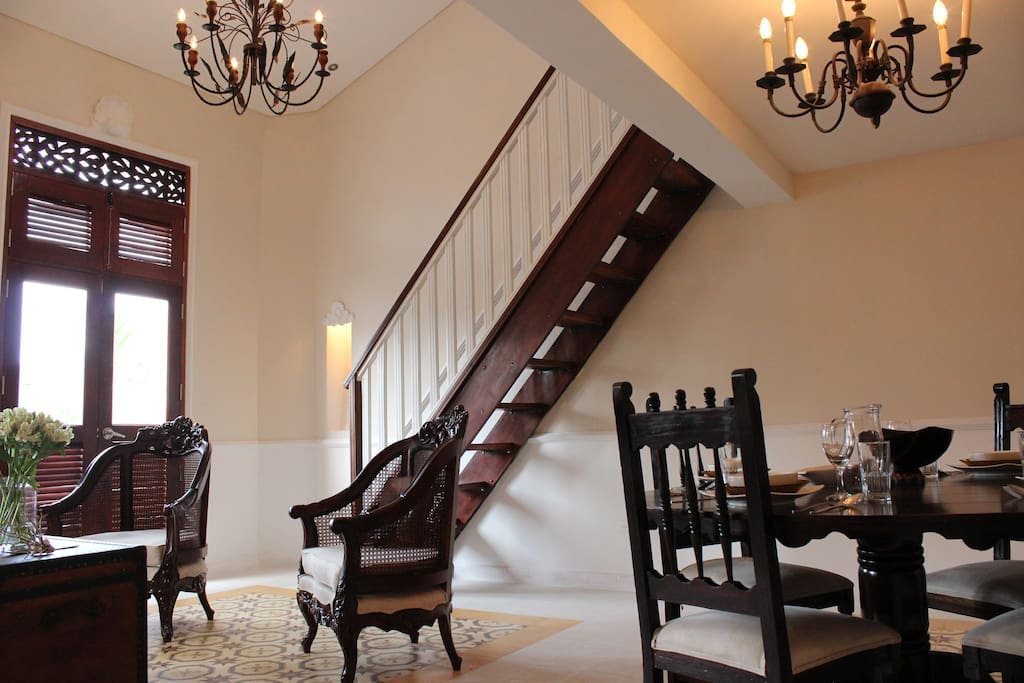 staircase to second floor where the bedroom is located