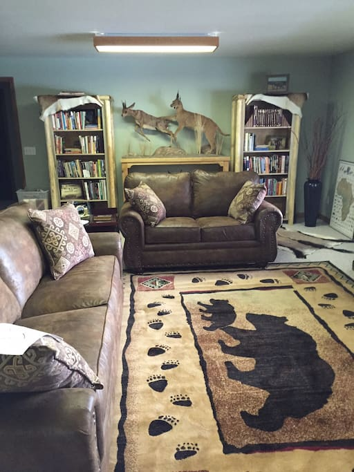 Our common area with many local books, games and seating to read or to relax by the fire.