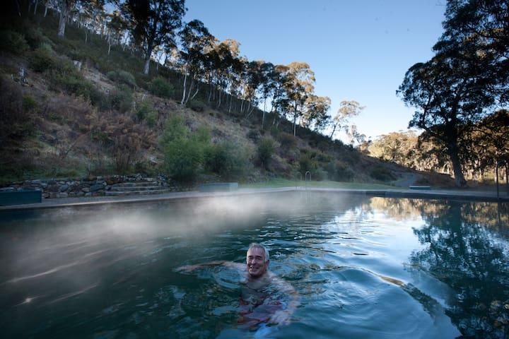 Enjoy the thermal pool at Yarrangobilly Caves