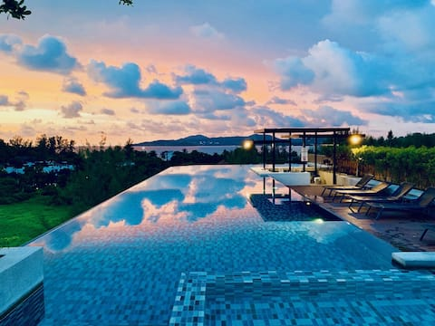 Surin beach studio with rooftop infinity pool, gym