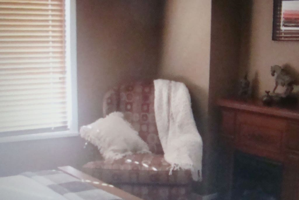 Master bedroom,  relax reading a book by the fireplace,