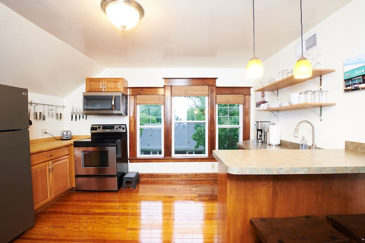 Full kitchen with everything you need (including appliances, coffee maker, french press, electric tea kettle, toaster, etc.)