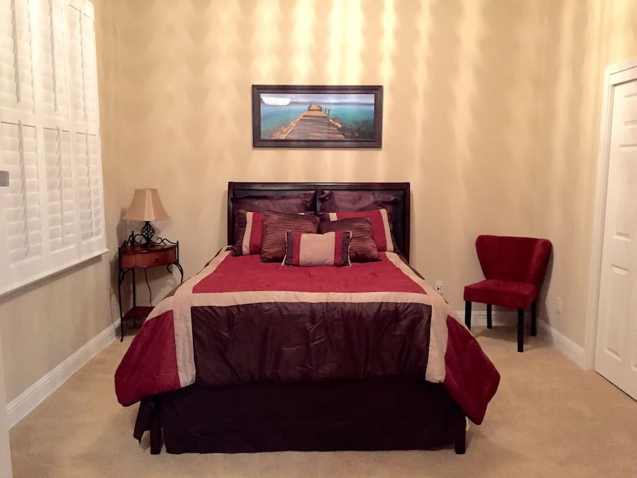 Very comfortable Queen bed for 1 or 2 guests.