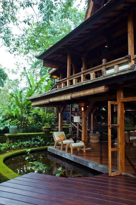 Perhaps best wooden crafted house in Ubud,collected with antique wood from some temples part all over Indonesia