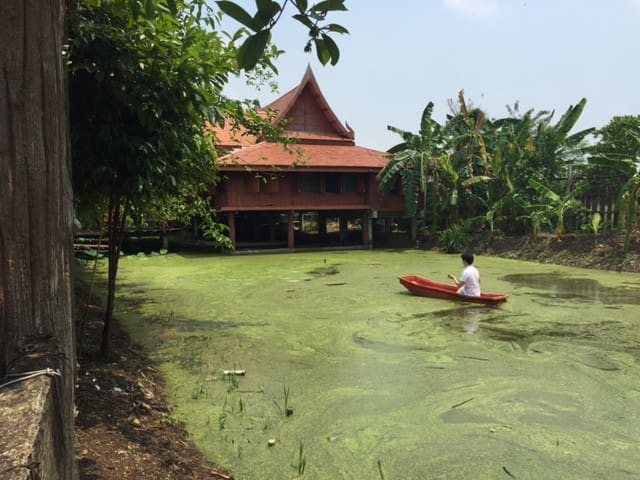 Thai Teak House with Pond