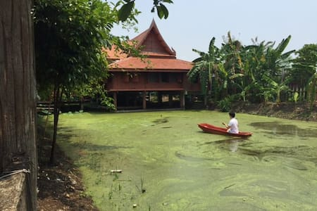 Thai Teak House with Pond - Tambon Wat Chalo