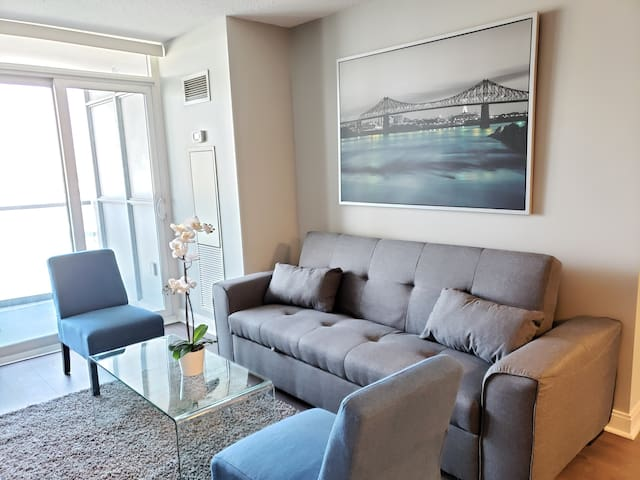 Comfortable Living Room with Queen Sofa Bed
