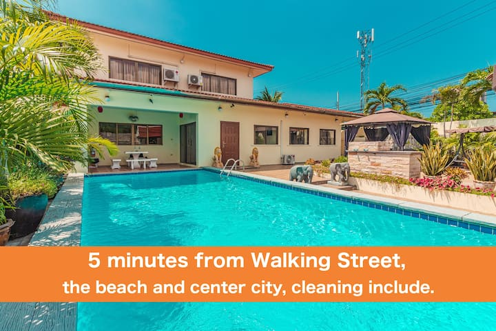 ⭐⭐⭐⭐⭐Villa BV4 bedroom near Walking Street & beach