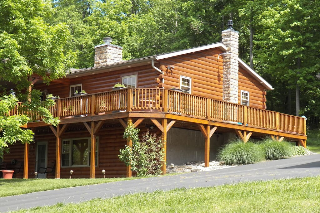 Large deck upstairs and additional patio space below.