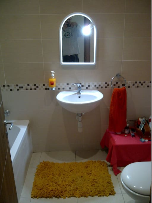 Your private bathroom. You have to cross the living room- kitchen