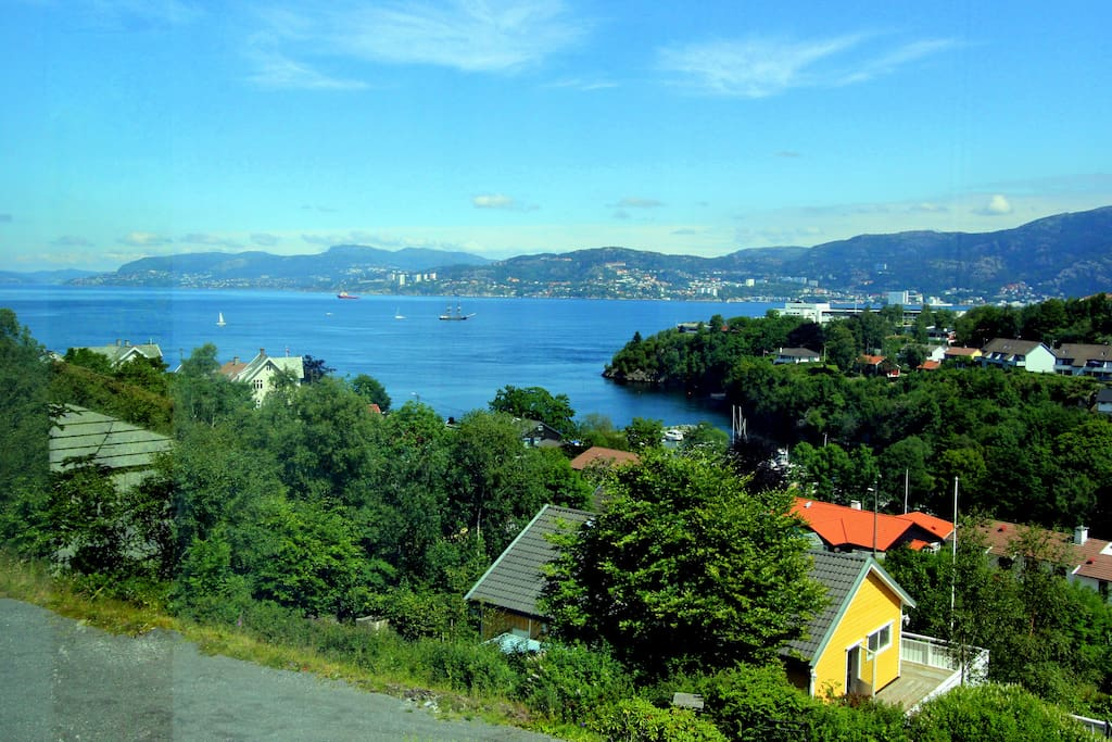 View of the fjord going in to city center of Bergen