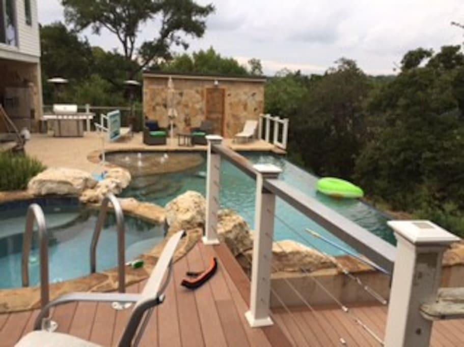 Negative edge pool and hot tub.